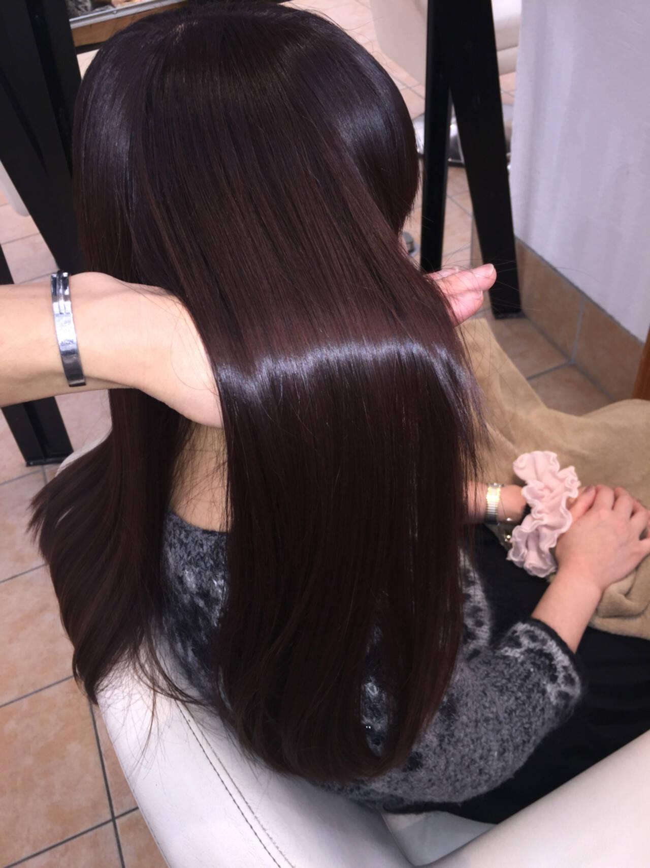 暗髪 コンサバ ロング 艶髪ヘアスタイルや髪型の写真・画像