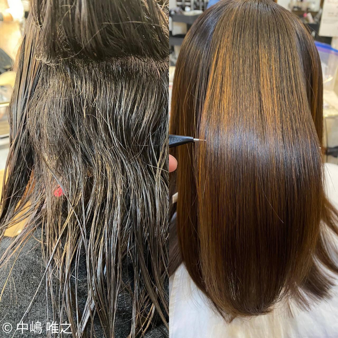 艶髪 ストレート セミロング ナチュラルヘアスタイルや髪型の写真・画像