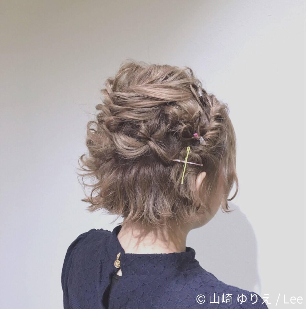 ヘアアレンジ フェミニン ボブ ミルクティーヘアスタイルや髪型の写真・画像