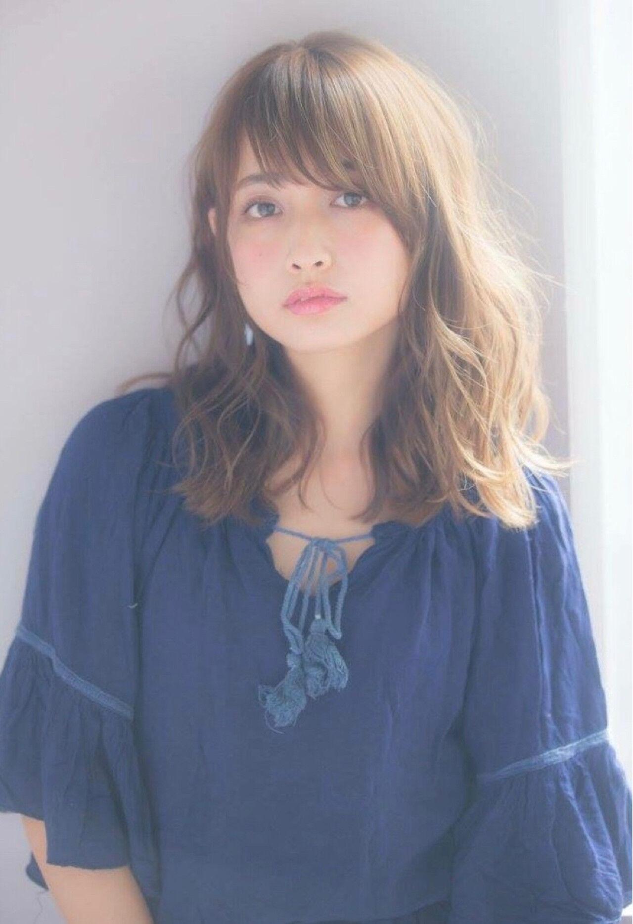 前髪あり パーマ デート 簡単ヘアアレンジヘアスタイルや髪型の写真・画像