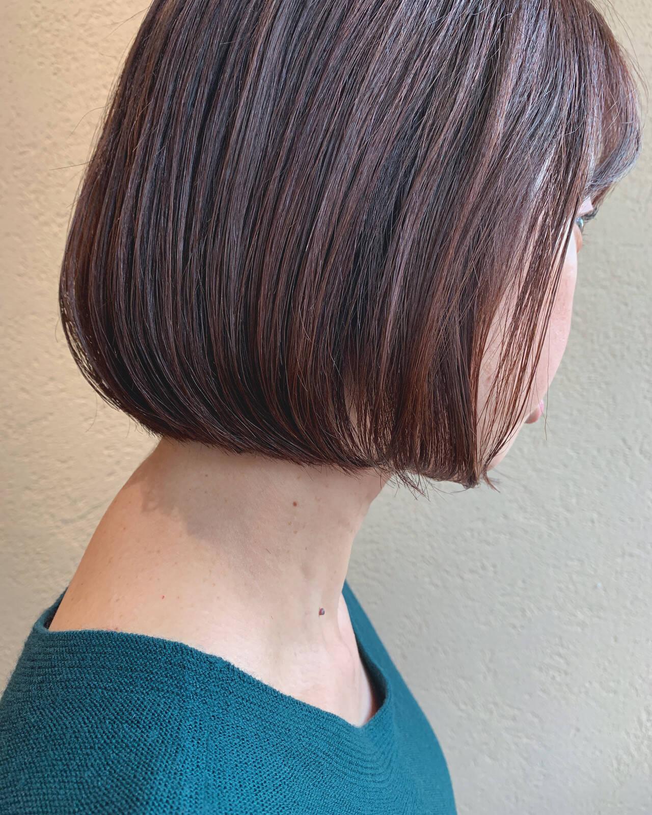 ラベンダーピンク ボブ ナチュラル ピンクラベンダーヘアスタイルや髪型の写真・画像