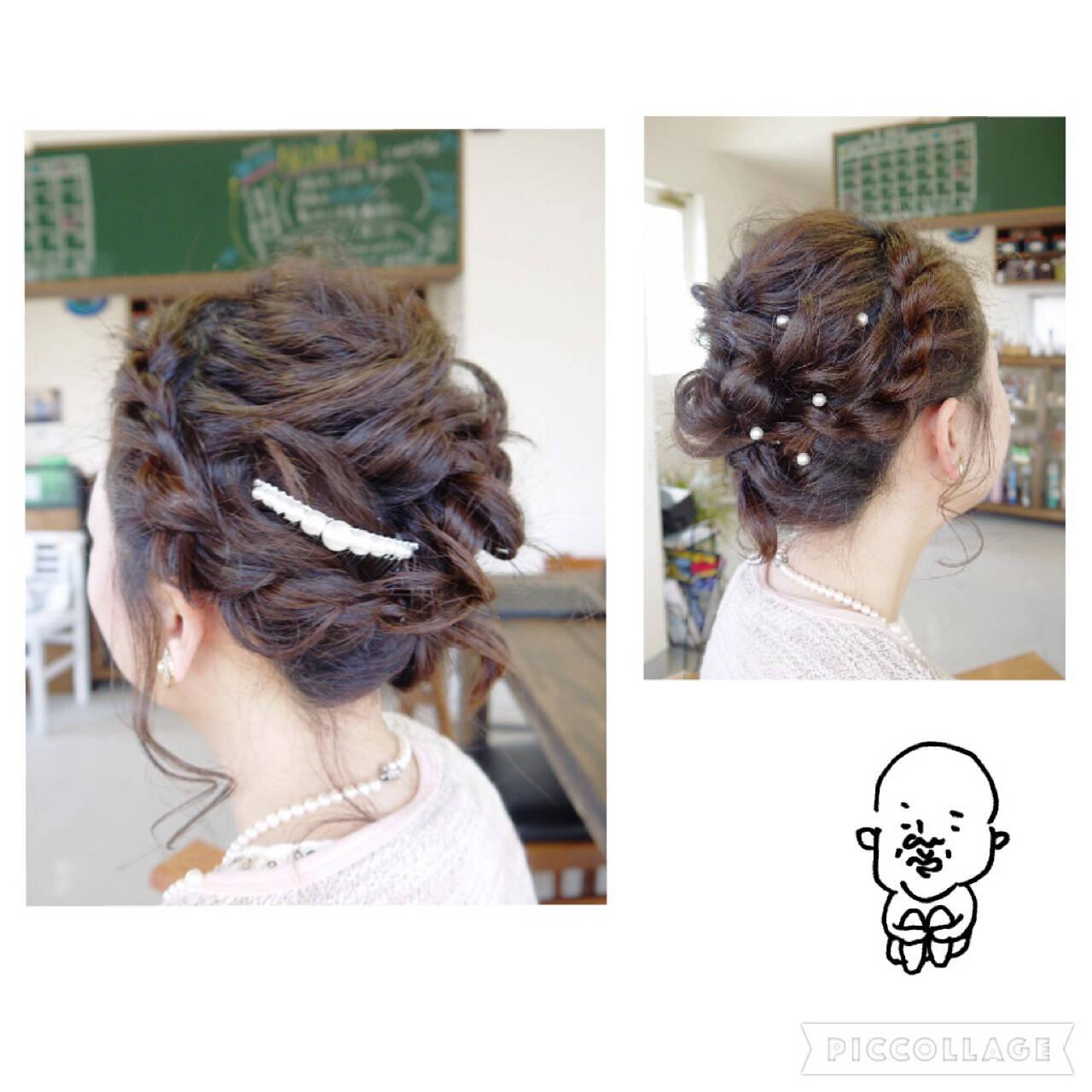 ミディアム パーティ 結婚式 ヘアピンヘアスタイルや髪型の写真・画像