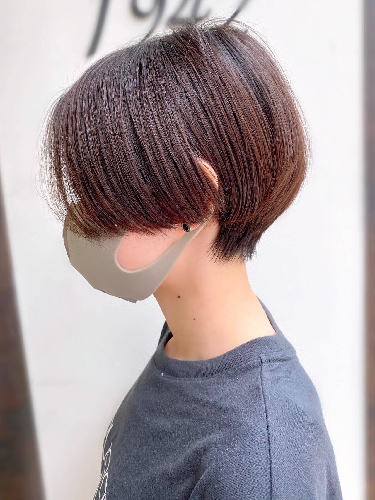 大人かわいい ショートヘア ショートボブ ナチュラルヘアスタイルや髪型の写真・画像