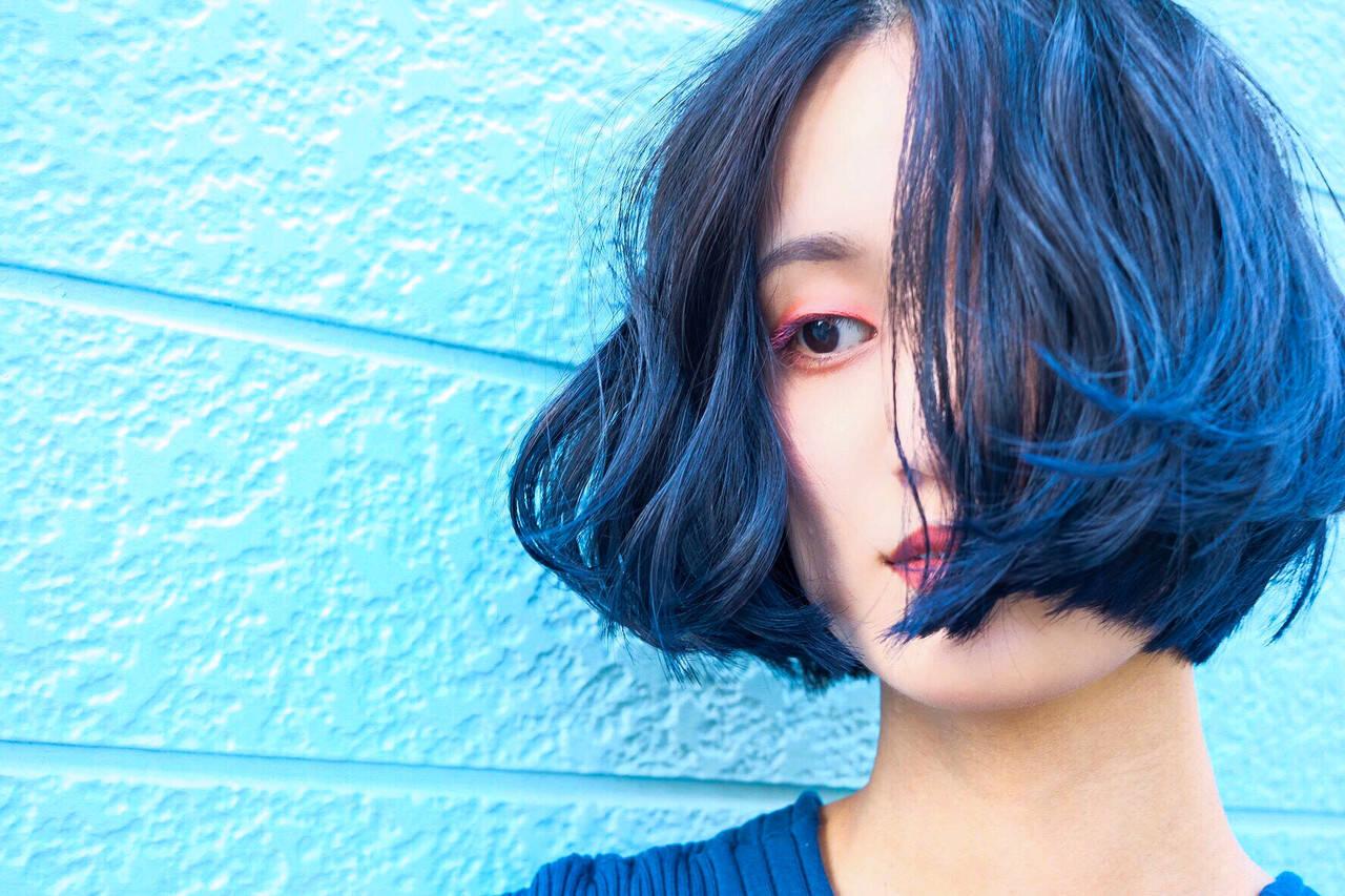 ネイビーブルー ブルーアッシュ ブルーブラック ターコイズブルーヘアスタイルや髪型の写真・画像