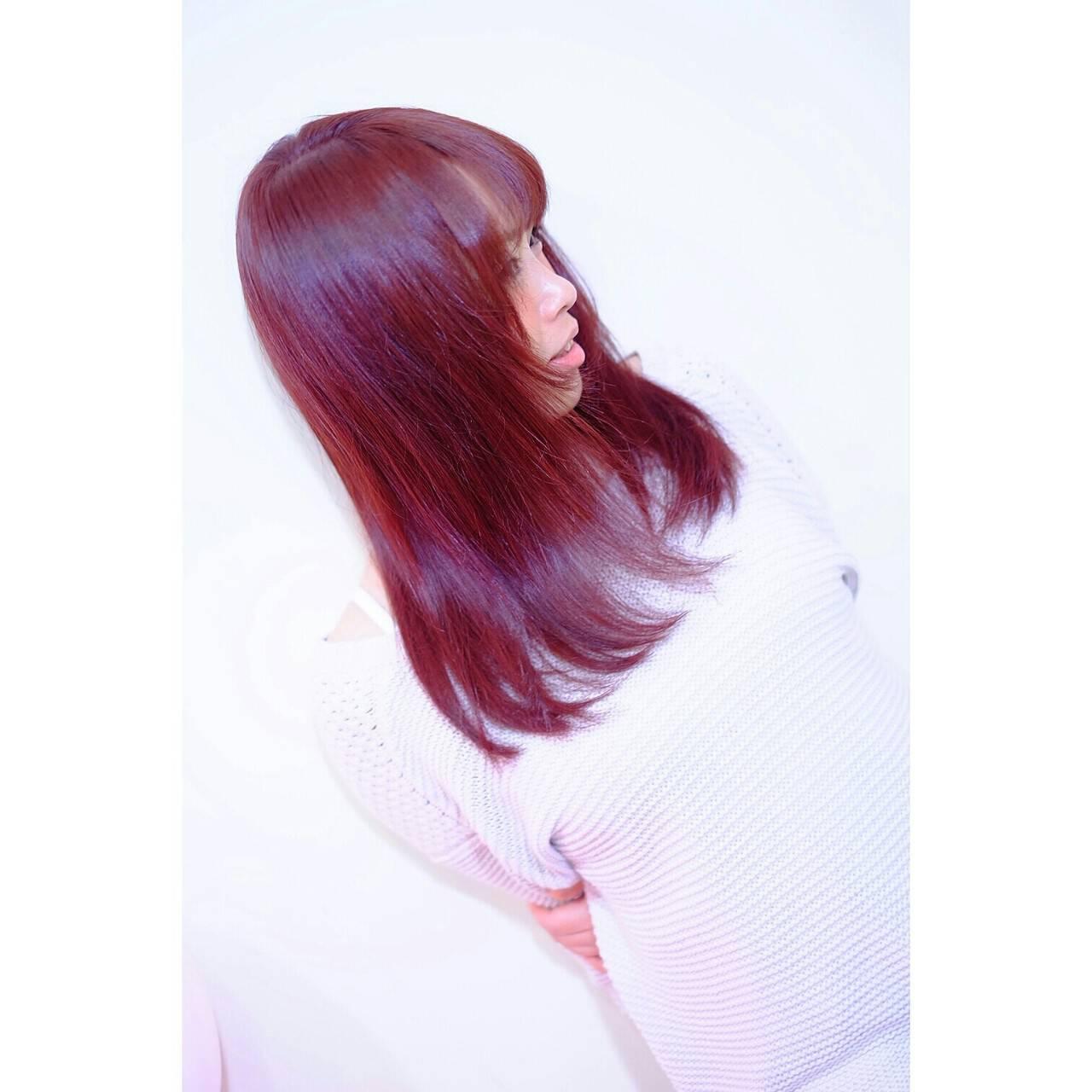 縮毛矯正 ナチュラル パーマ レッドヘアスタイルや髪型の写真・画像