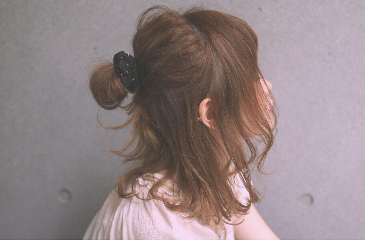 ハーフアップ ミディアム ヘアアレンジ ゆるふわヘアスタイルや髪型の写真・画像