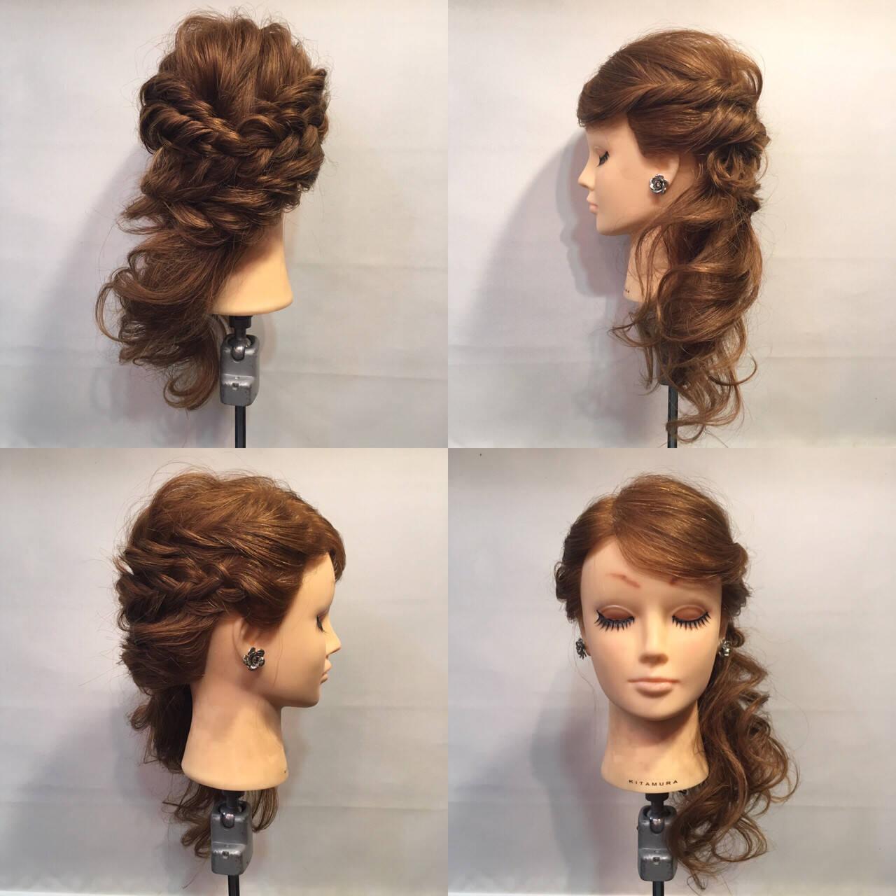 裏編み込み セミロング サイドアップ ヘアアレンジヘアスタイルや髪型の写真・画像