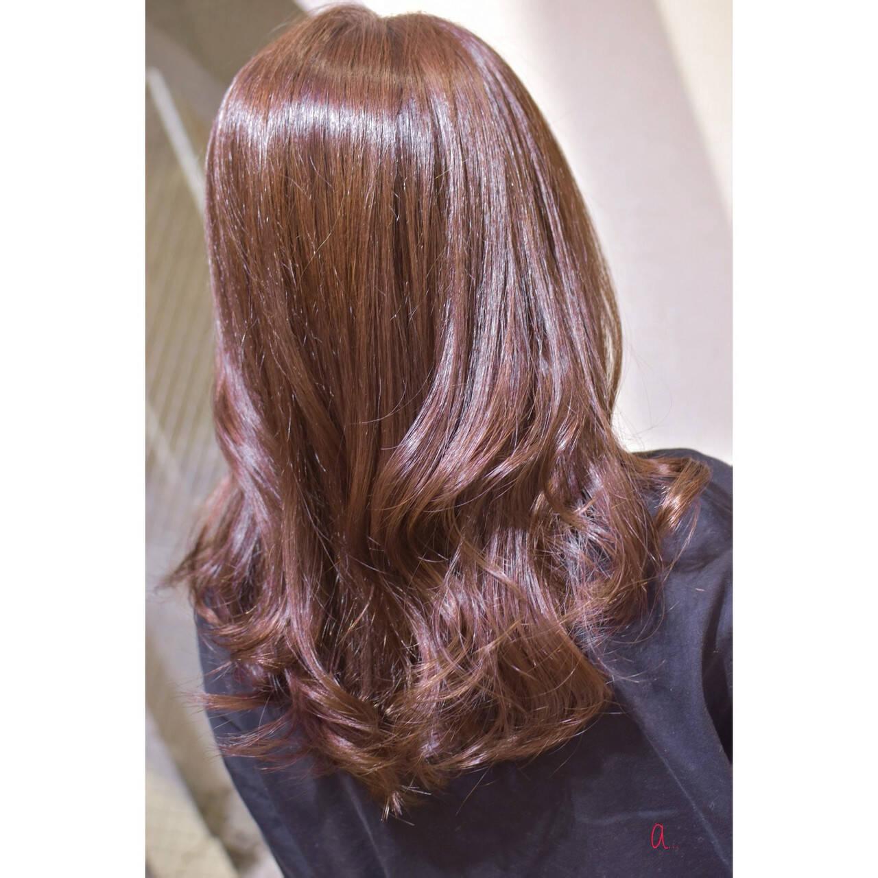 ロング コーラルピンク コーラル 韓国ヘアヘアスタイルや髪型の写真・画像