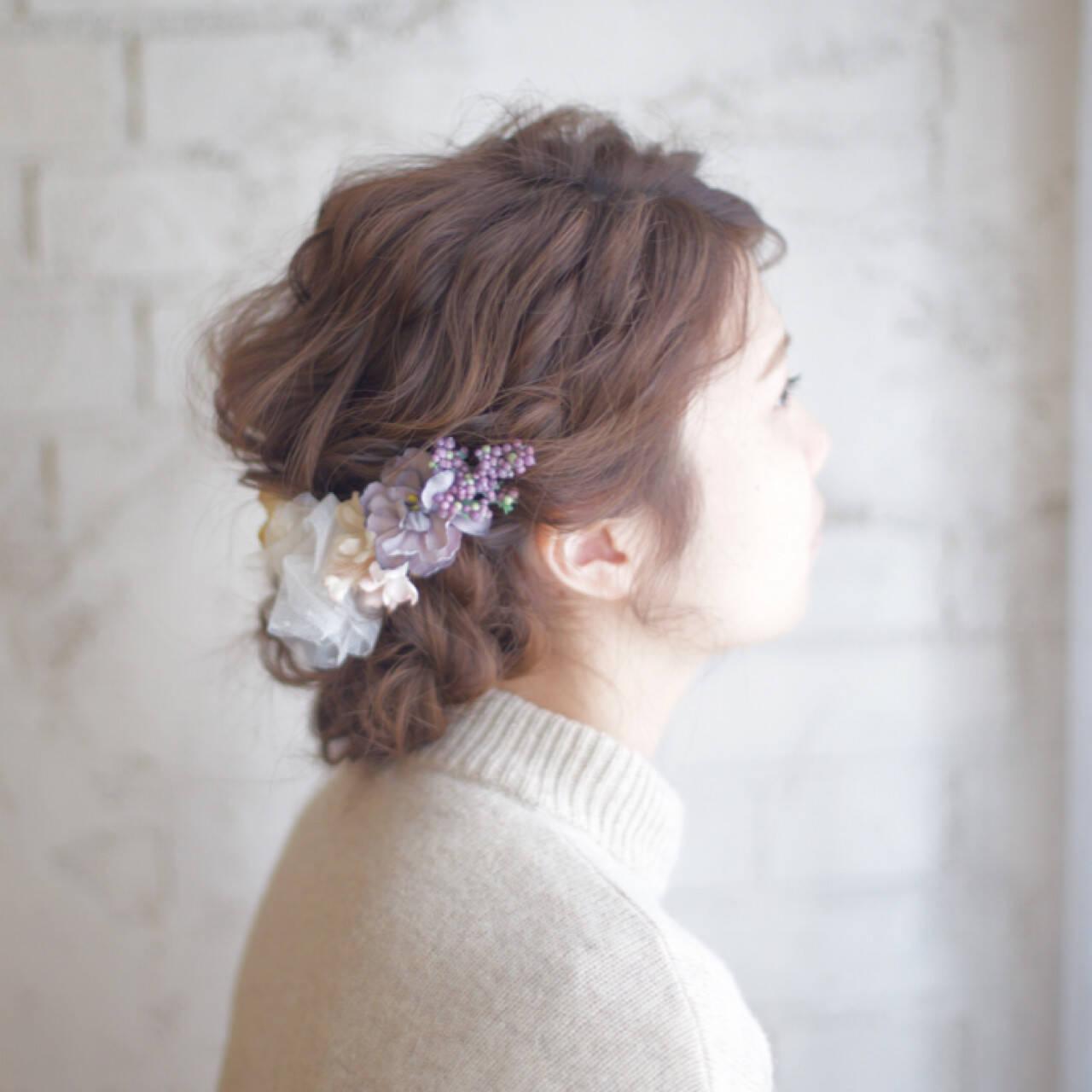 簡単ヘアアレンジ セミロング 大人かわいい 結婚式ヘアスタイルや髪型の写真・画像