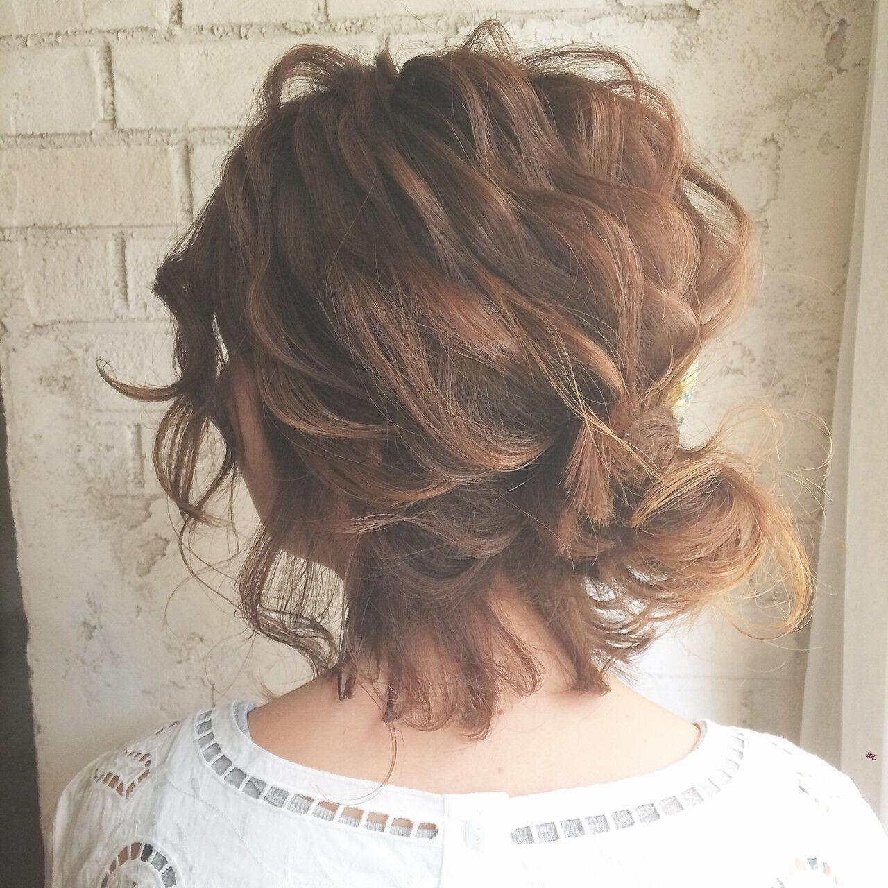 ヘアアレンジ ボブ ハーフアップ 大人女子ヘアスタイルや髪型の写真・画像