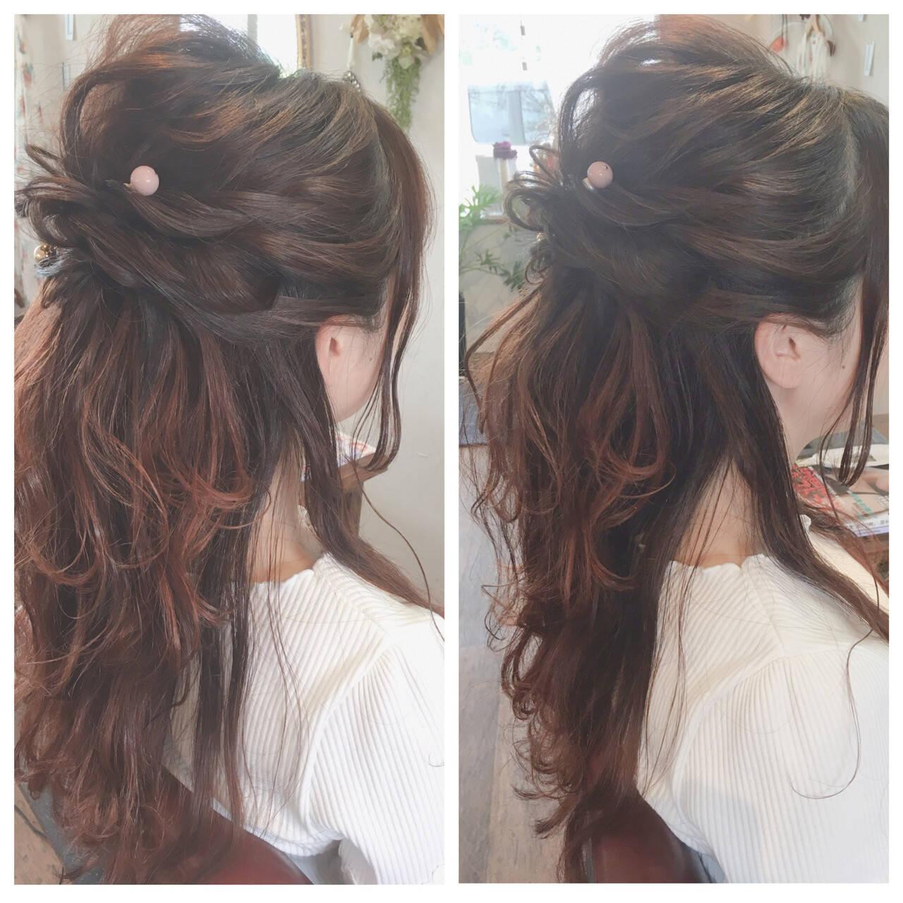 簡単ヘアアレンジ フェミニン ヘアアレンジ 女子会ヘアスタイルや髪型の写真・画像