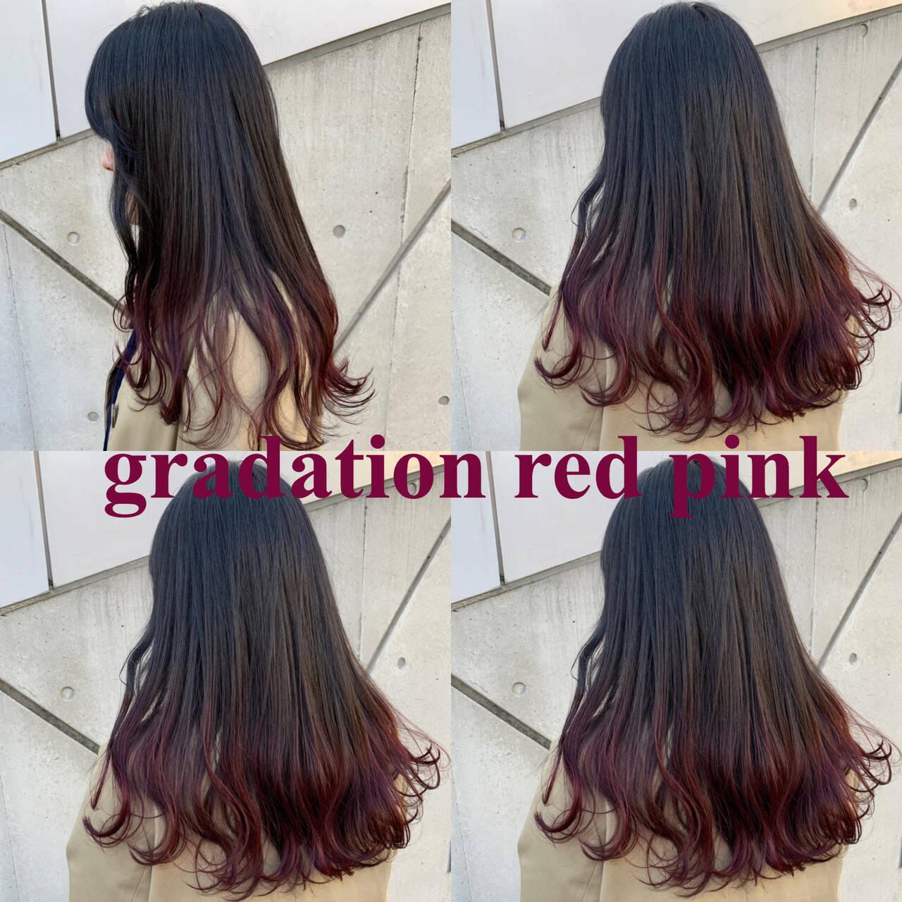 ロング ベリーピンク ブルーラベンダー ナチュラルヘアスタイルや髪型の写真・画像
