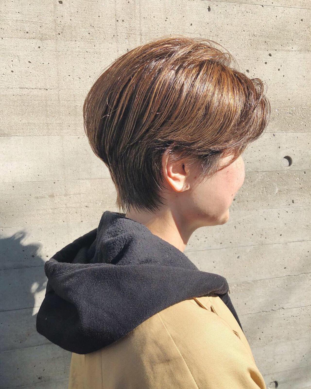ナチュラル ショートヘア ハイライト 大人ハイライトヘアスタイルや髪型の写真・画像
