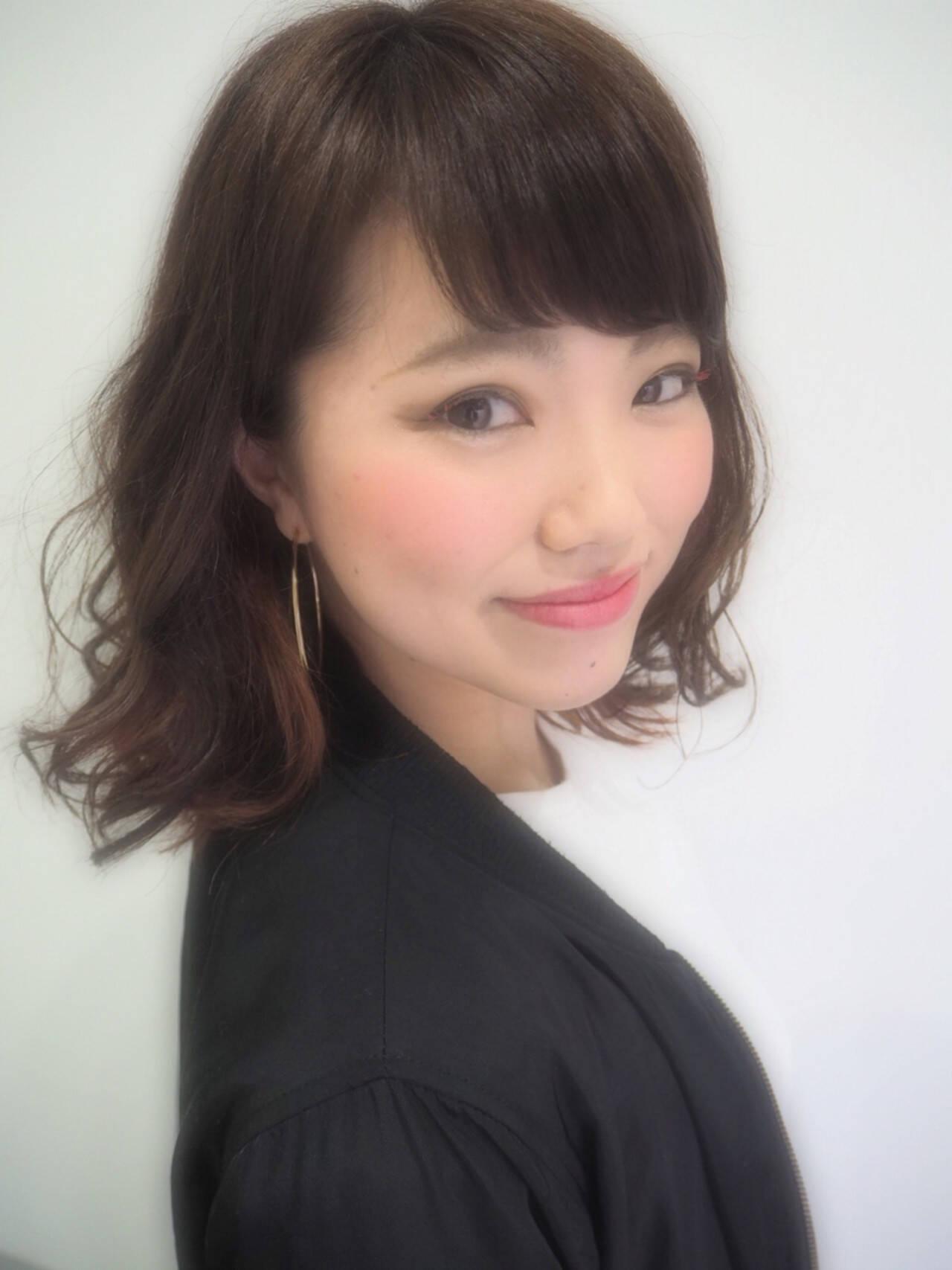 大人かわいい フェミニン ミディアム 春ヘアスタイルや髪型の写真・画像