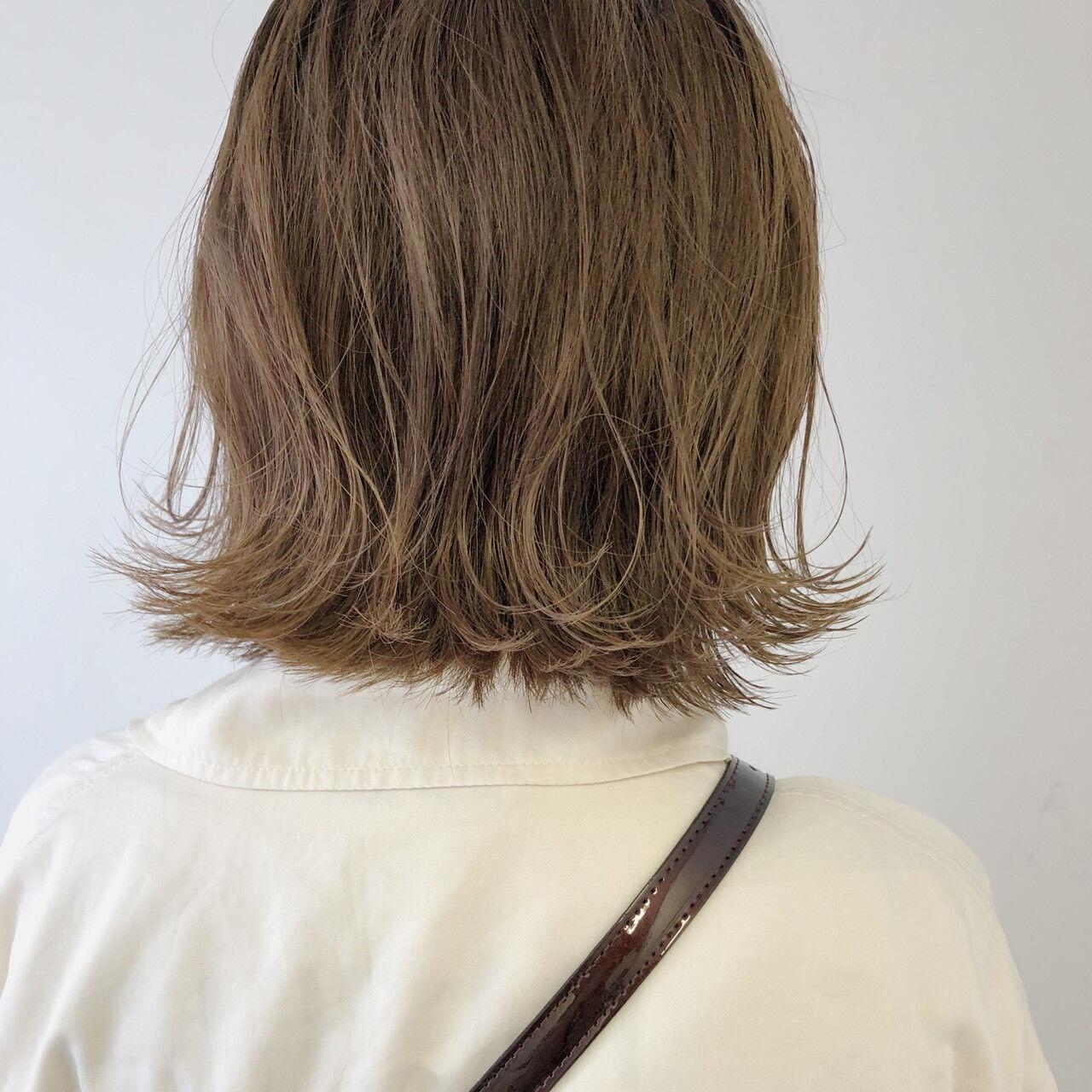 外ハネボブ ボブ ガーリー 外国人風カラーヘアスタイルや髪型の写真・画像