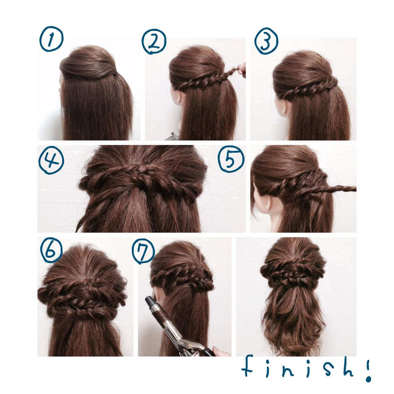 セミロング ハーフアップ ゆるふわ ヘアアレンジヘアスタイルや髪型の写真・画像