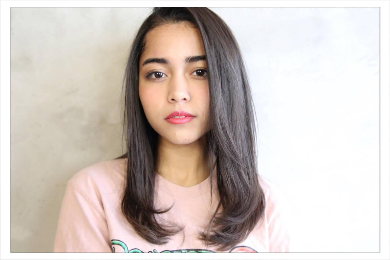 ストレート 艶髪 マット パーマヘアスタイルや髪型の写真・画像