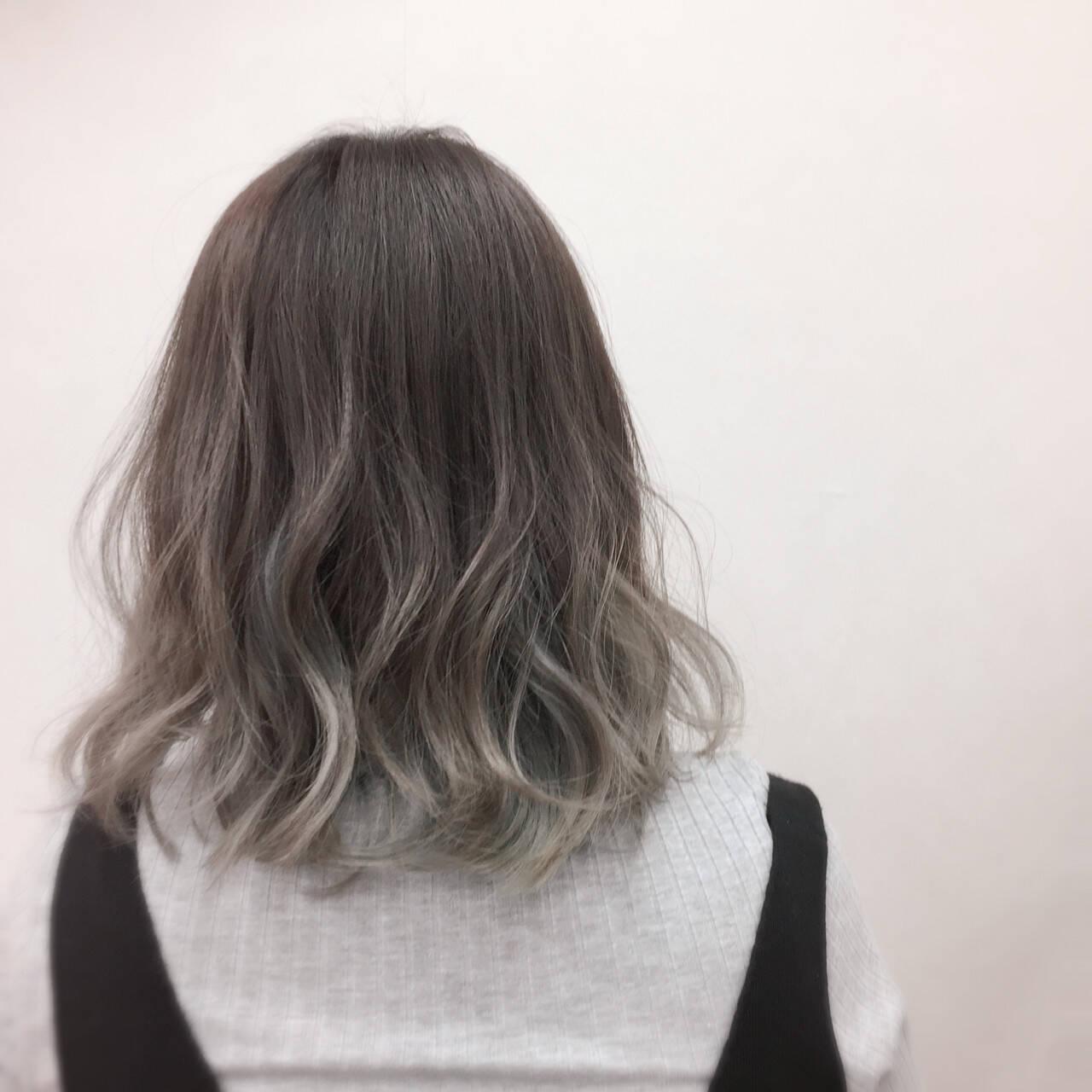 モード 外国人風 ミディアム グラデーションカラーヘアスタイルや髪型の写真・画像