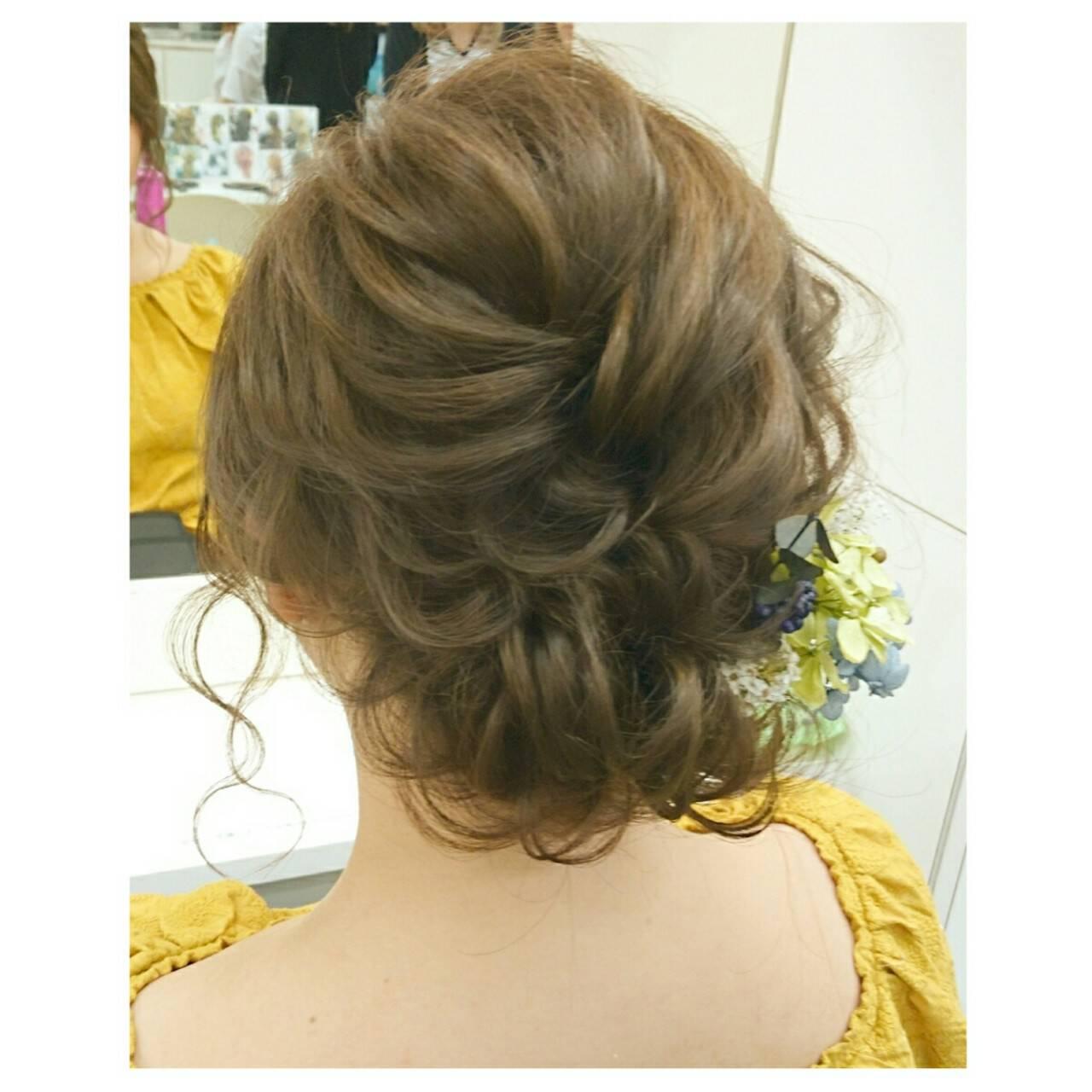 ヘアアレンジ 夏 結婚式 ミディアムヘアスタイルや髪型の写真・画像