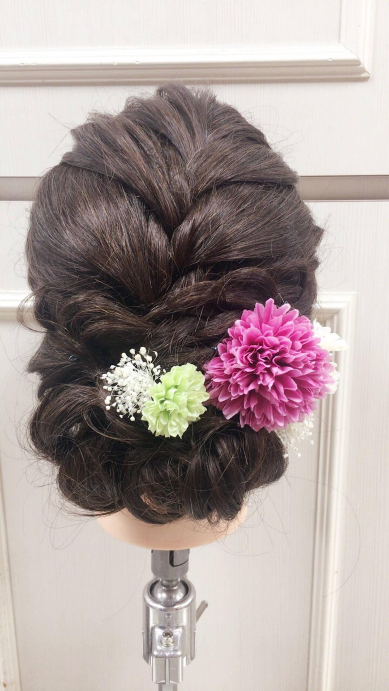 ヘアアレンジ ロング ガーリー 結婚式ヘアスタイルや髪型の写真・画像