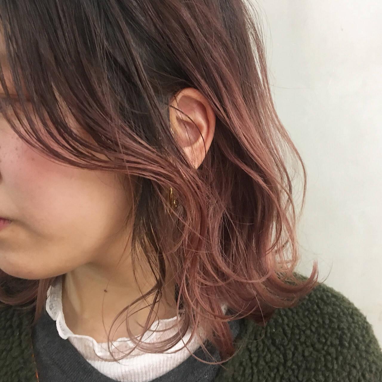 こなれ感 ミディアム ピンク ハイトーンヘアスタイルや髪型の写真・画像