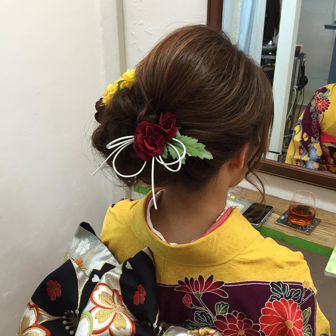 結婚式 大人女子 ヘアアレンジ 着物ヘアスタイルや髪型の写真・画像
