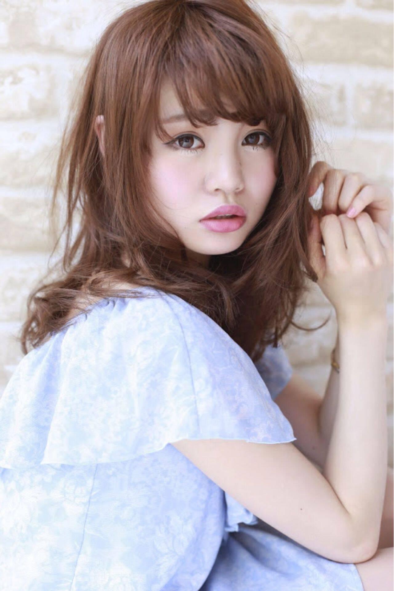 ガーリー フェミニン 大人かわいい ミディアムヘアスタイルや髪型の写真・画像