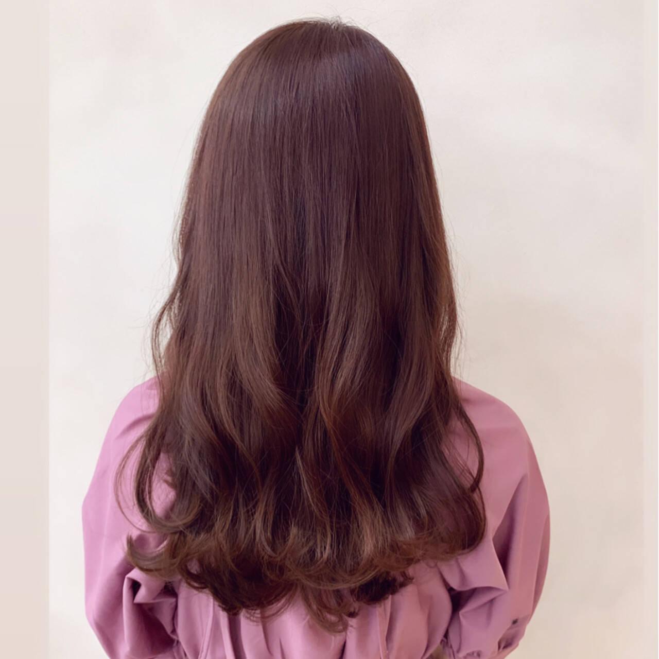 ピンク デート セミロング フェミニンヘアスタイルや髪型の写真・画像