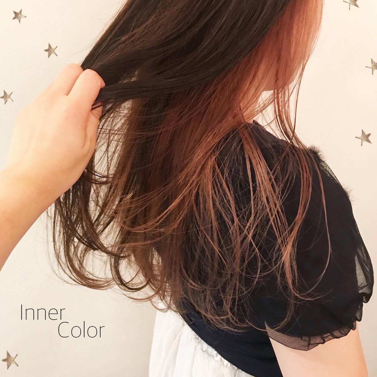 ピンク ロング こなれ感 インナーカラーヘアスタイルや髪型の写真・画像