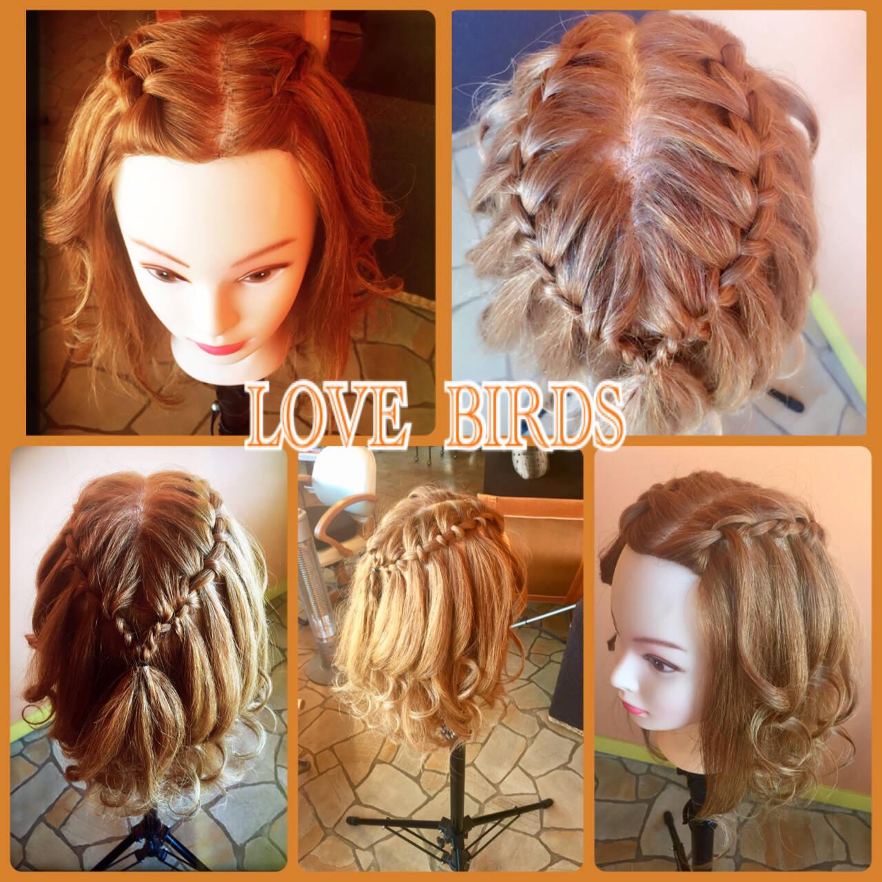 編み込み セミロング ハーフアップ 簡単ヘアアレンジヘアスタイルや髪型の写真・画像