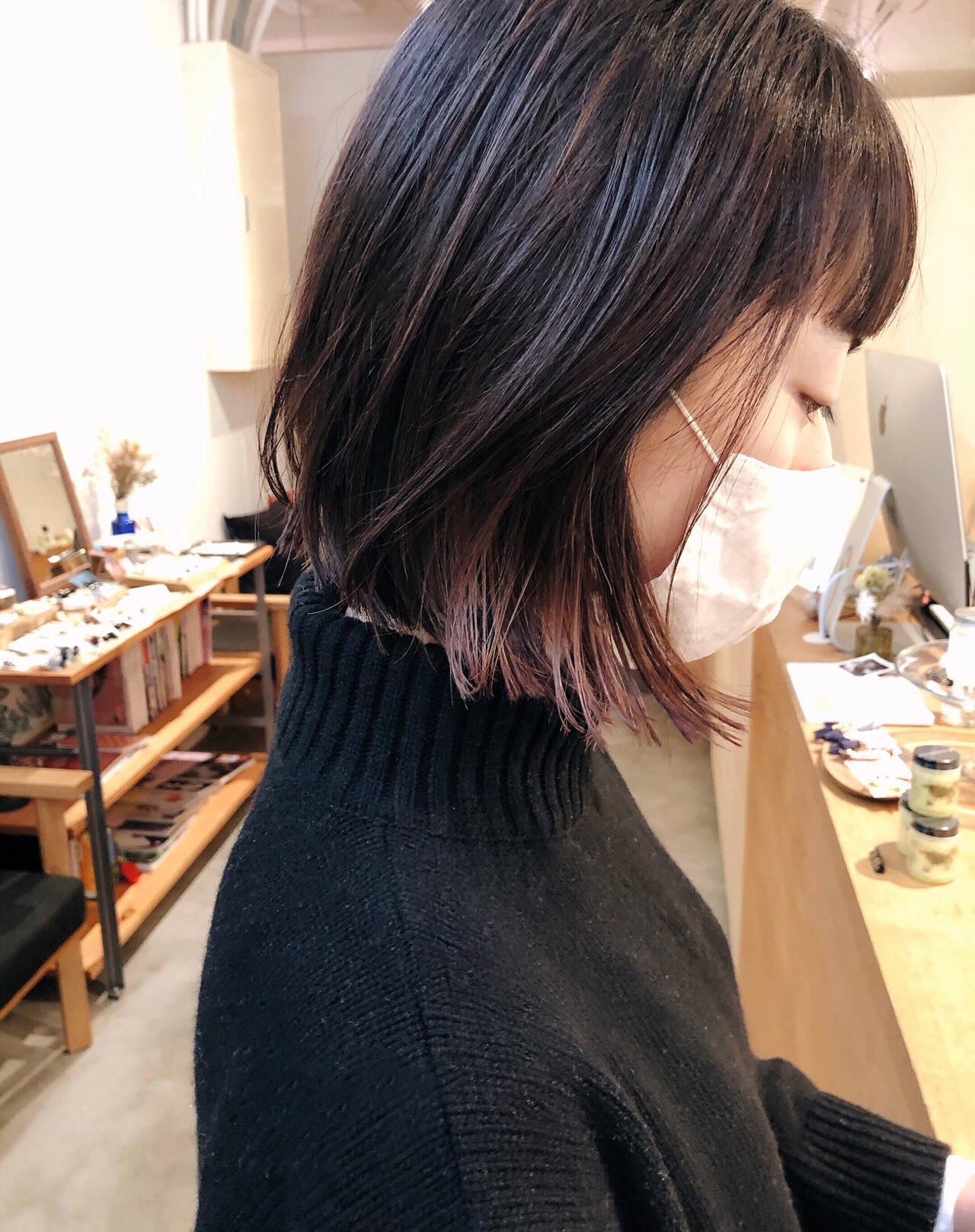 切りっぱなしボブ ミニボブ ボブ グラデーションカラーヘアスタイルや髪型の写真・画像