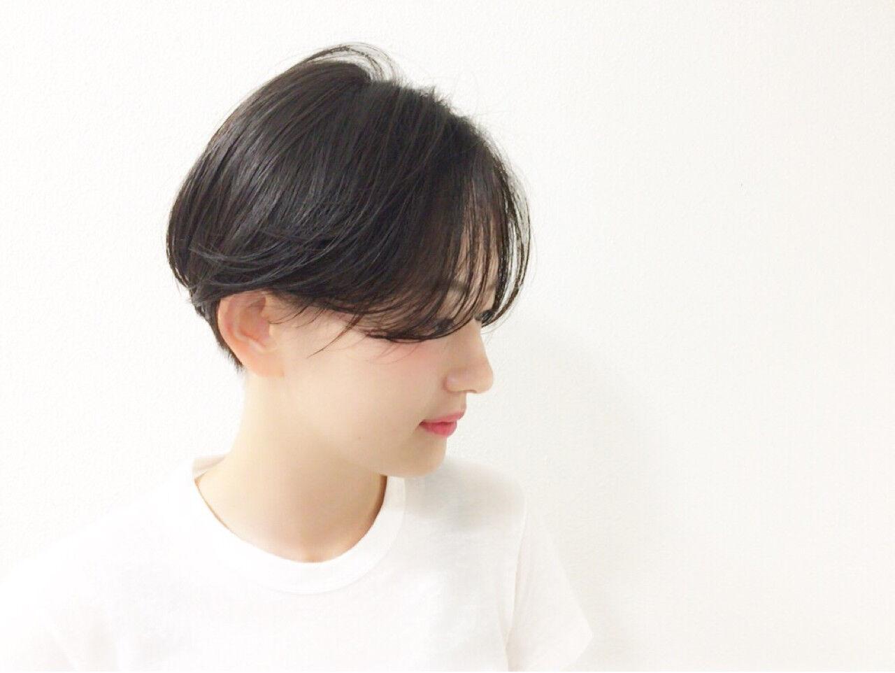 黒髪 モード 爽やか ショートヘアスタイルや髪型の写真・画像