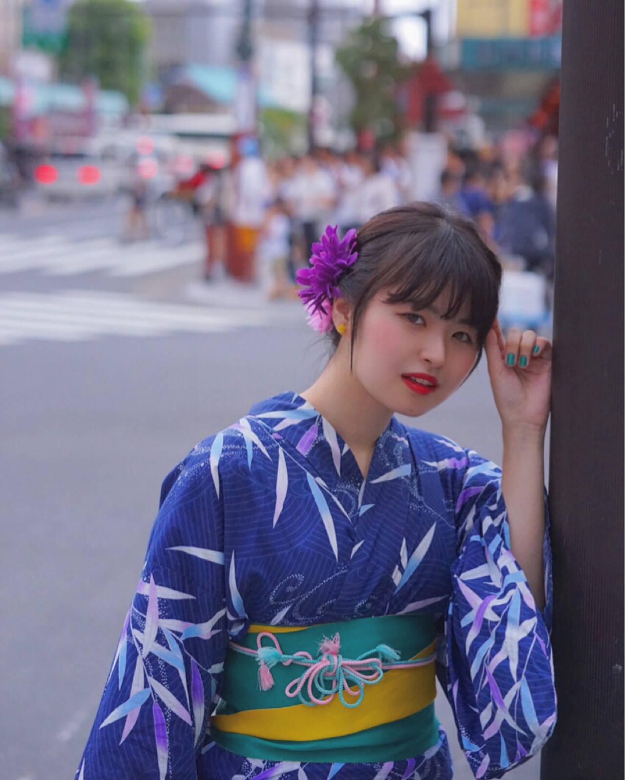 和装 ロング 夏 色気ヘアスタイルや髪型の写真・画像