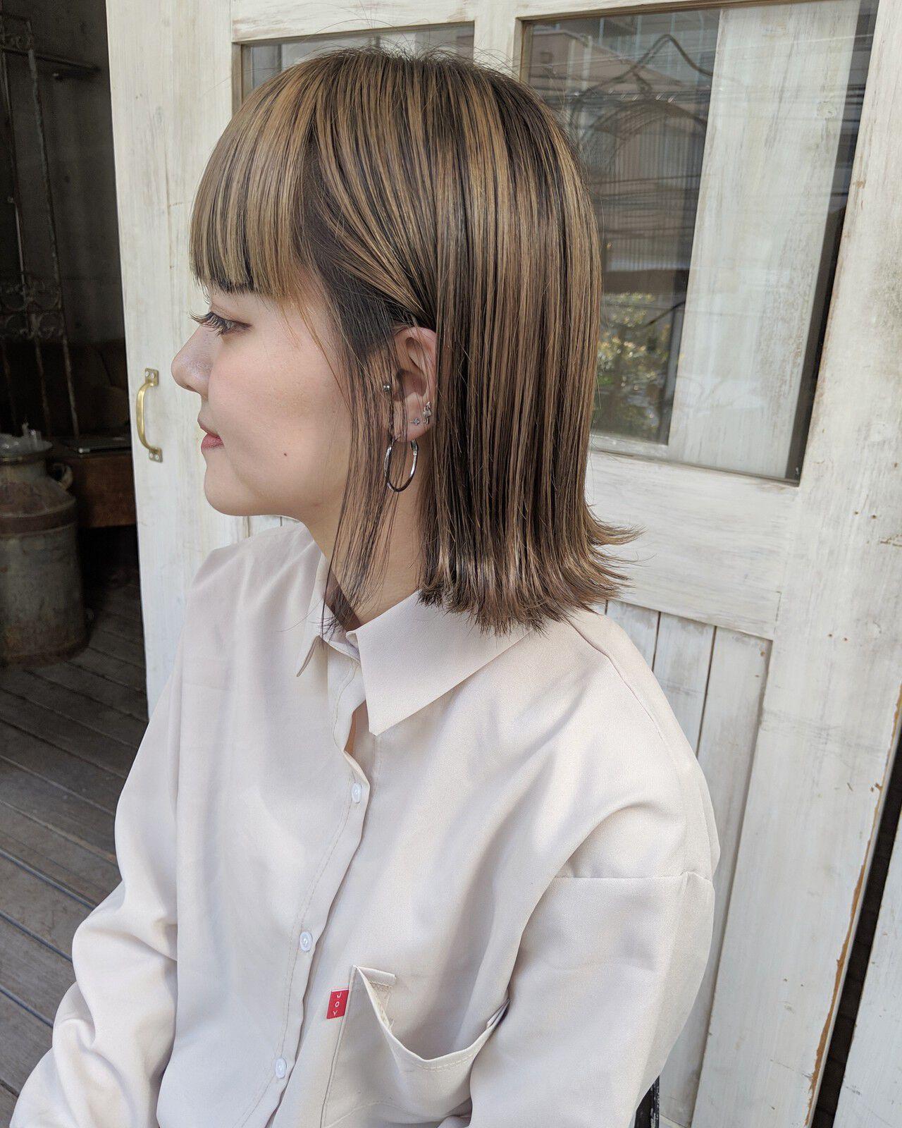 ハイライト ローライト インナーカラー ボブヘアスタイルや髪型の写真・画像