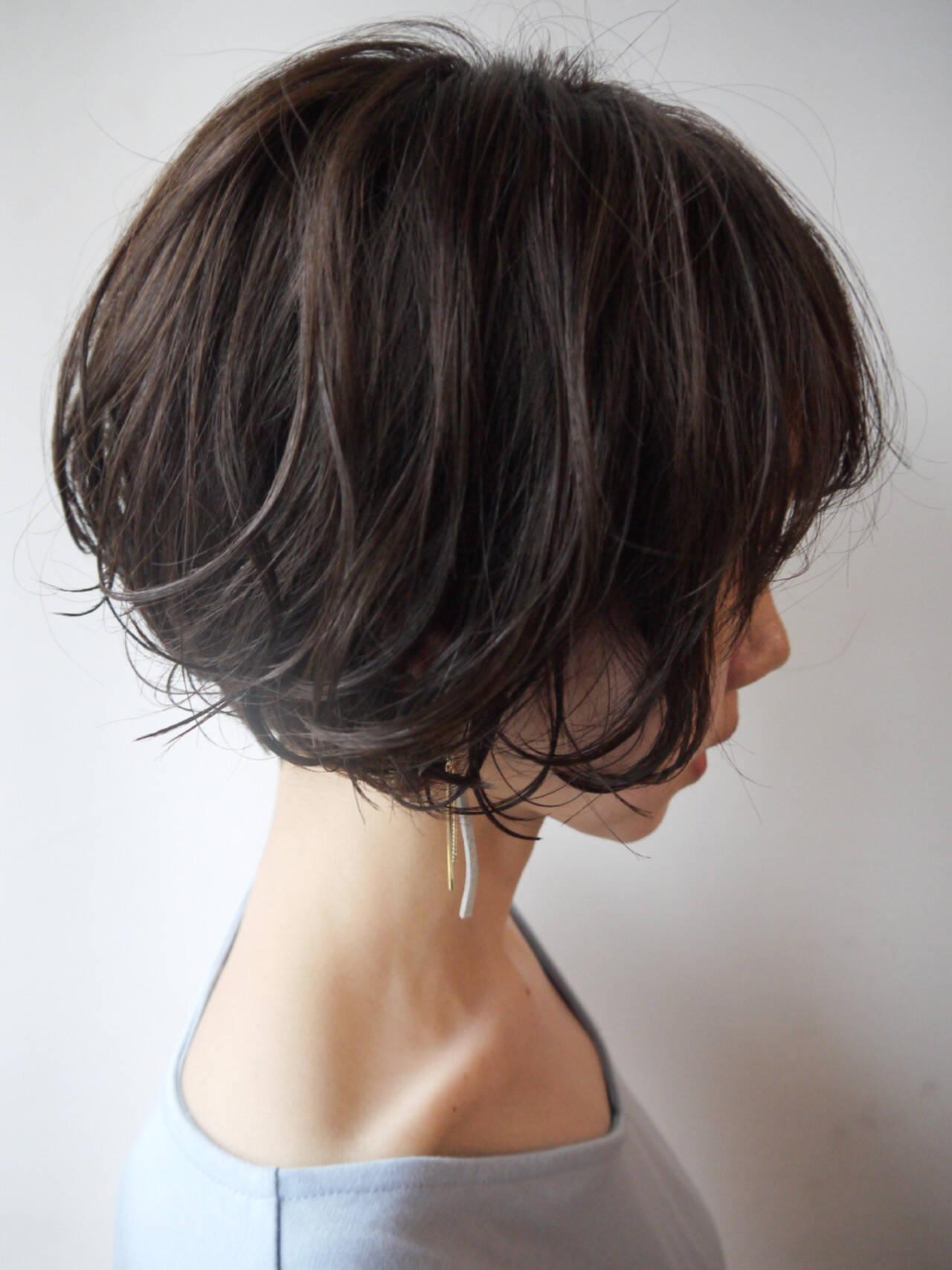 似合わせ ショートボブ 涼しげ オフィスヘアスタイルや髪型の写真・画像