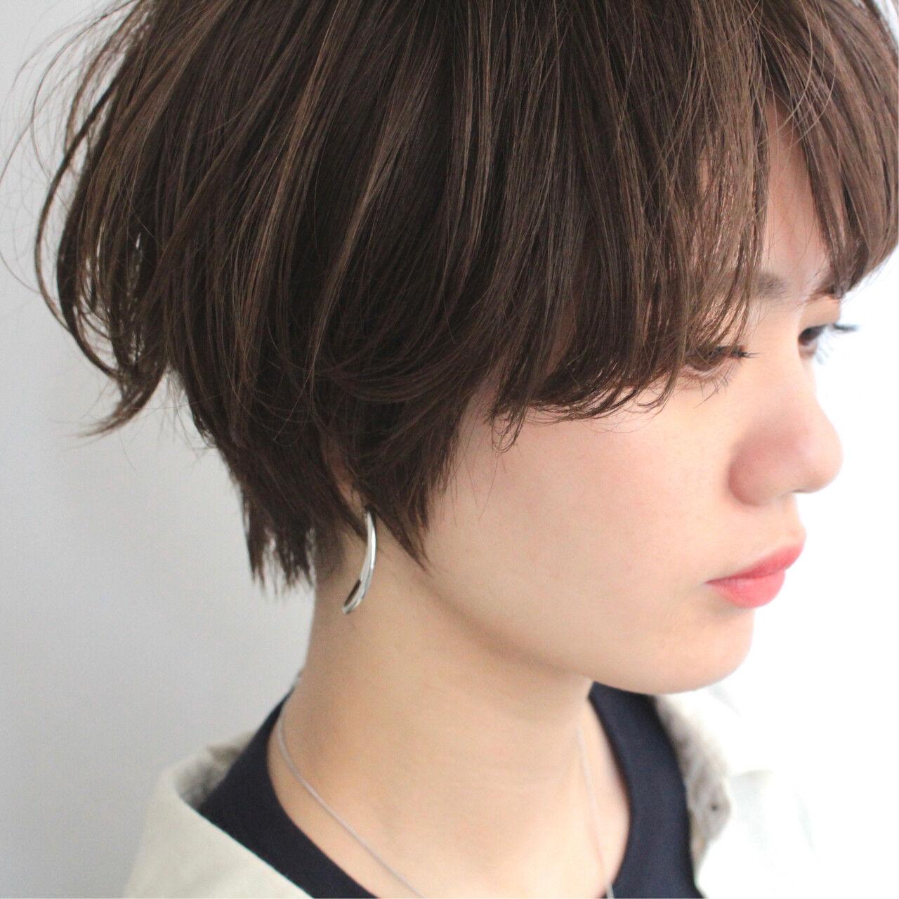 ショート ショートバング 小顔ショート ショートヘアヘアスタイルや髪型の写真・画像