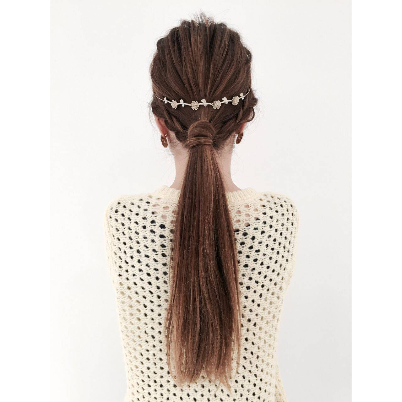 ヘアアレンジ ガーリー ローポニーテールヘアスタイルや髪型の写真・画像