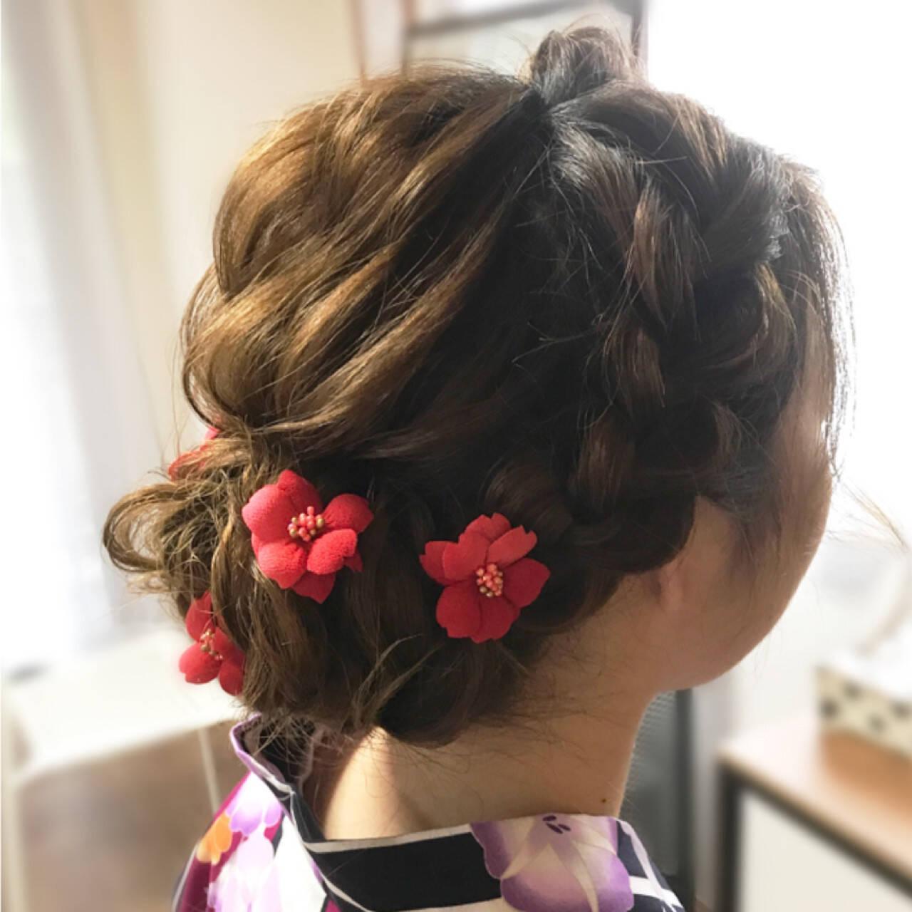 ヘアアレンジ フェミニン 和装 編み込みヘアスタイルや髪型の写真・画像