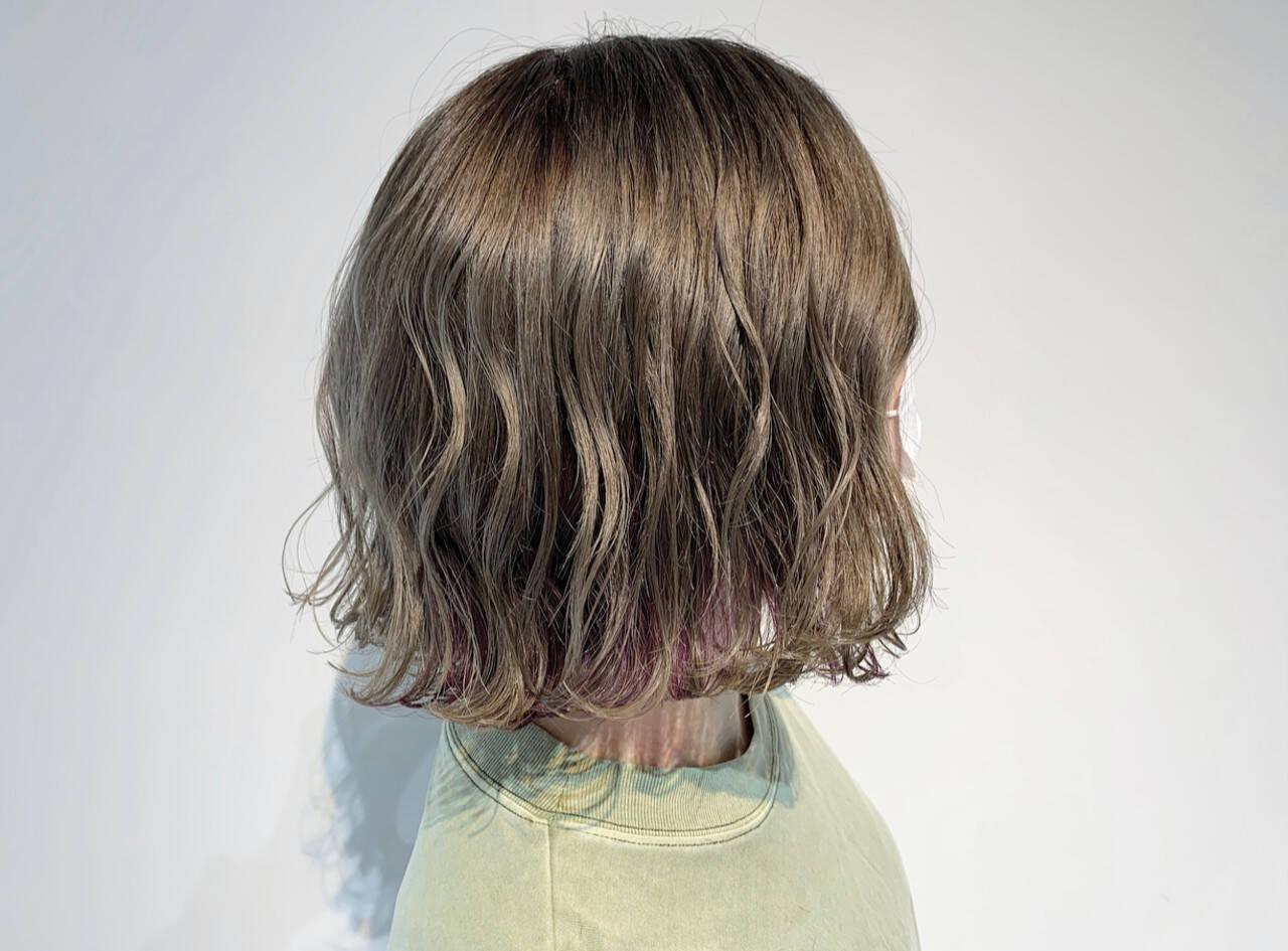 ボブ ユニコーンカラー ピンクパープル インナーカラーヘアスタイルや髪型の写真・画像
