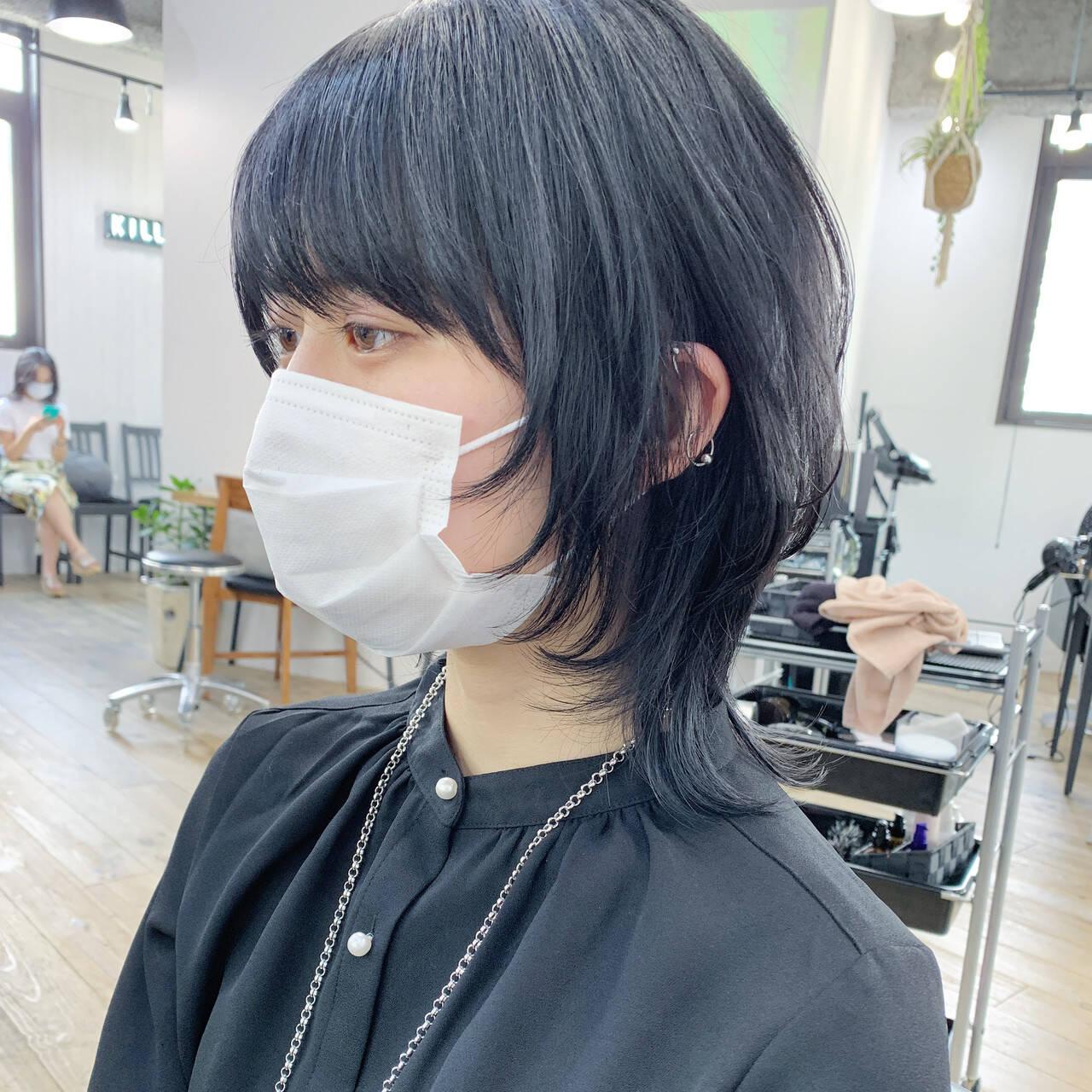 モード ミディアム ショートヘア インナーカラーヘアスタイルや髪型の写真・画像