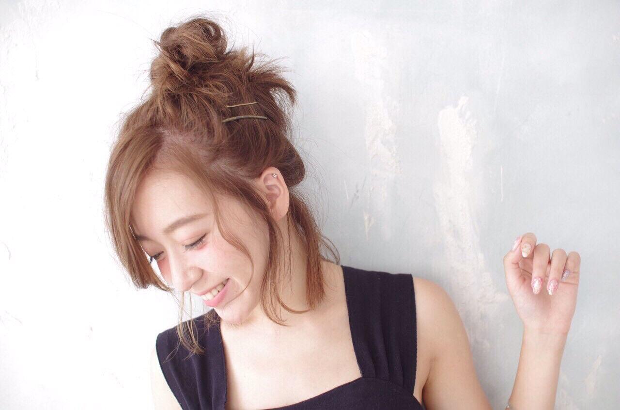 ハーフアップ ヘアアレンジ ストリート ミディアムヘアスタイルや髪型の写真・画像