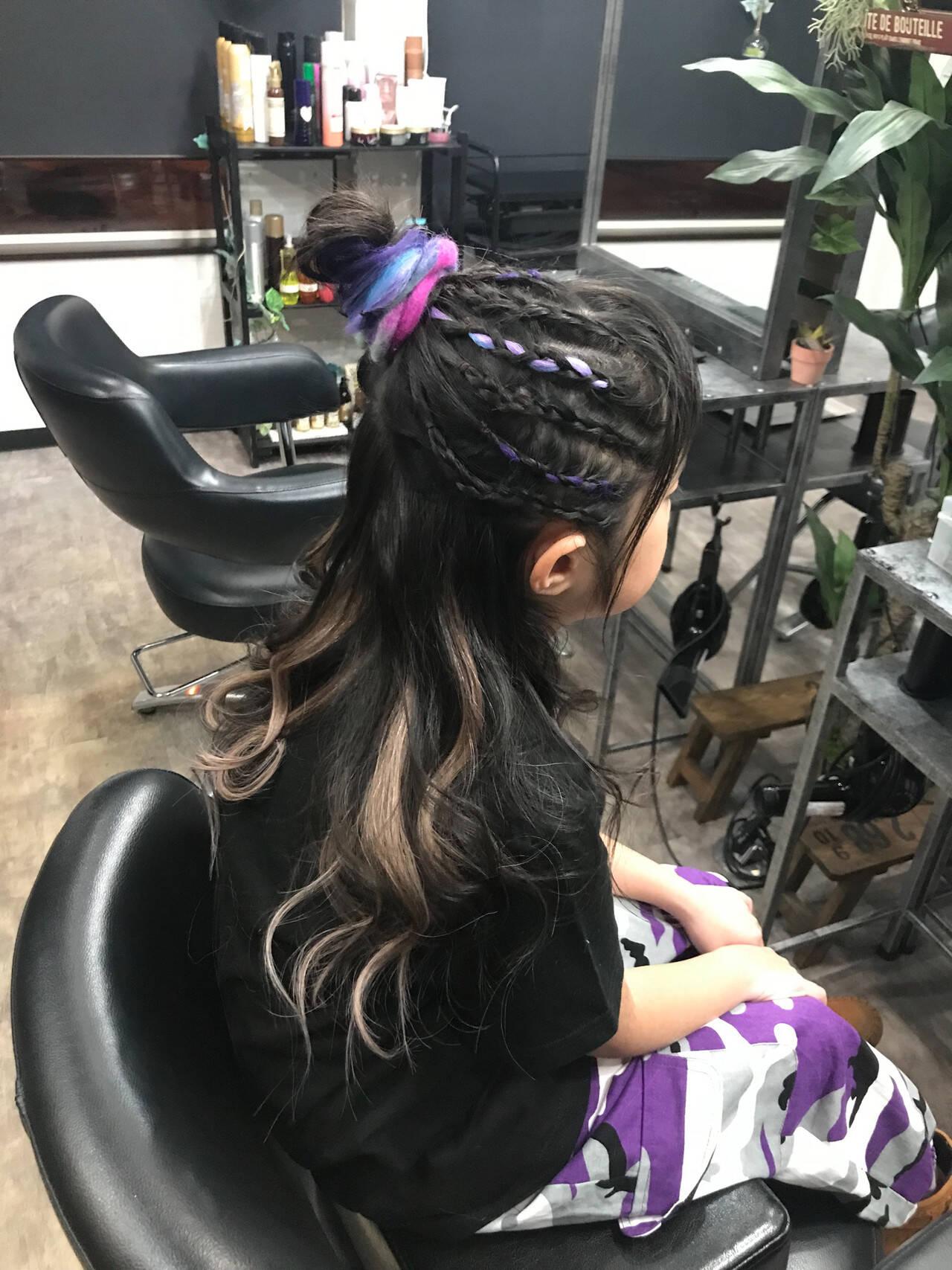 ハイライト ロング エクステ キッズヘアスタイルや髪型の写真・画像