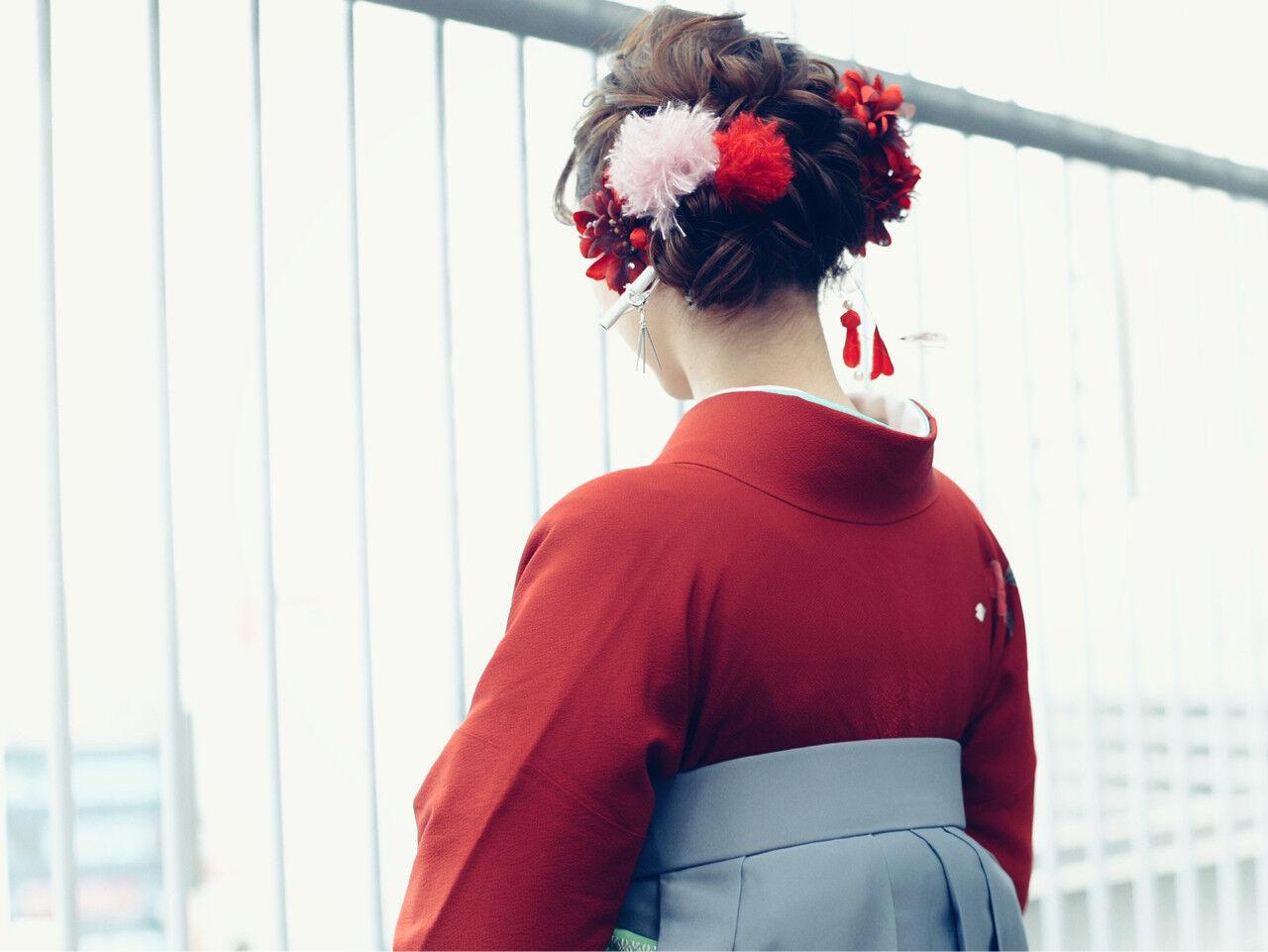 ヘアアレンジ 簡単ヘアアレンジ ガーリー 袴ヘアスタイルや髪型の写真・画像