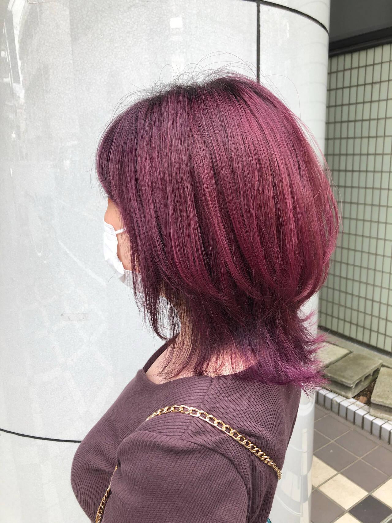 ボルドー ガーリー ピンクバイオレット ミディアムヘアスタイルや髪型の写真・画像