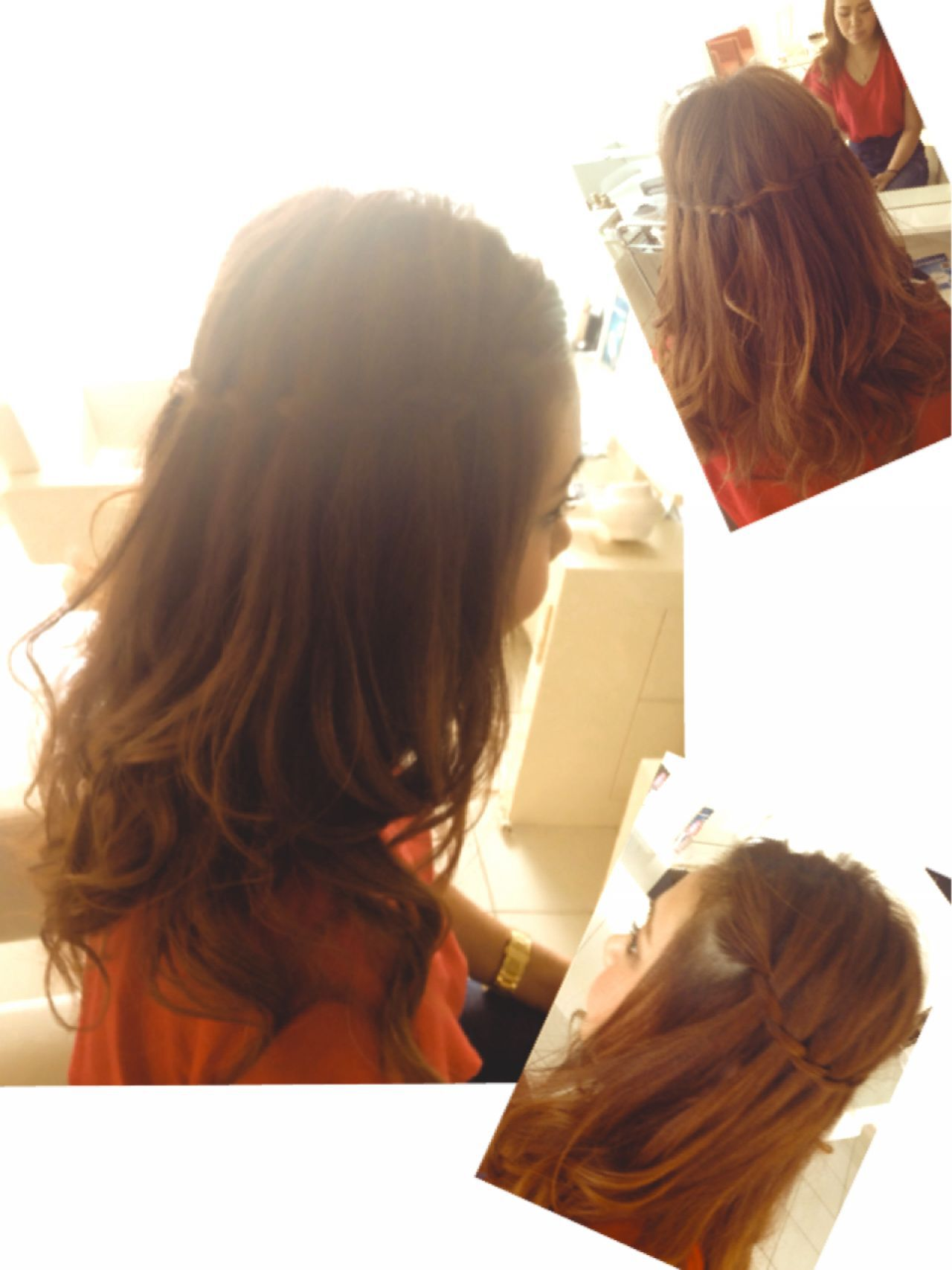 ウォーターフォール ナチュラル ゆるふわ ルーズヘアスタイルや髪型の写真・画像