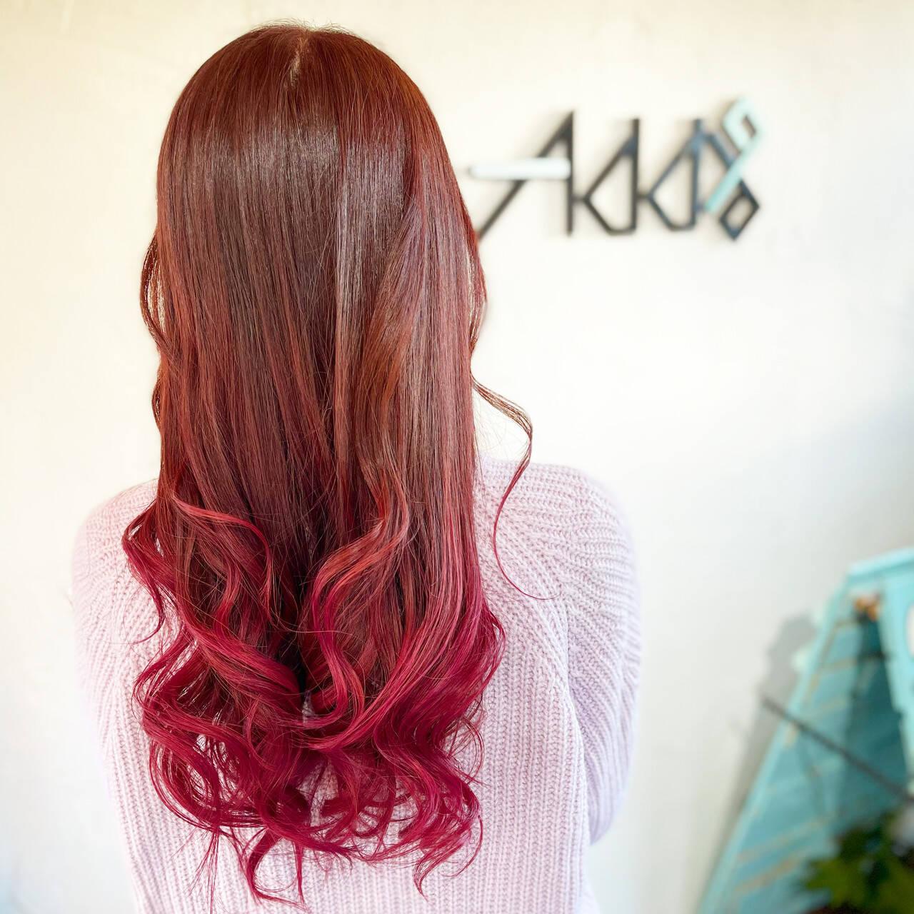 ピンクバイオレット 韓国風ヘアー エレガント バレイヤージュヘアスタイルや髪型の写真・画像