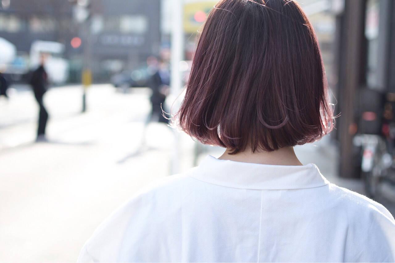 ナチュラル ラベンダーピンク ピンク ボブヘアスタイルや髪型の写真・画像