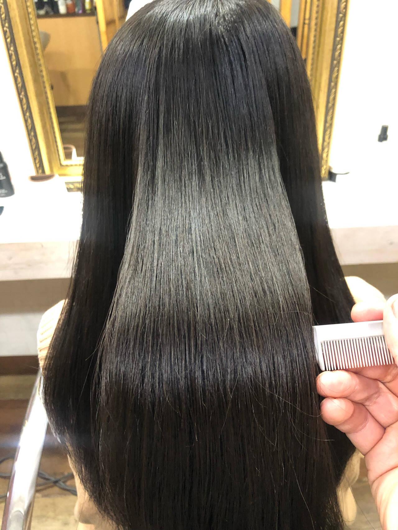髪質改善トリートメント ロング 髪質改善 髪質改善カラーヘアスタイルや髪型の写真・画像
