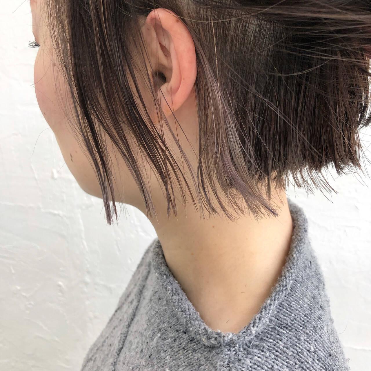 ボブ ストリート ハイライト クリーミーカラーヘアスタイルや髪型の写真・画像