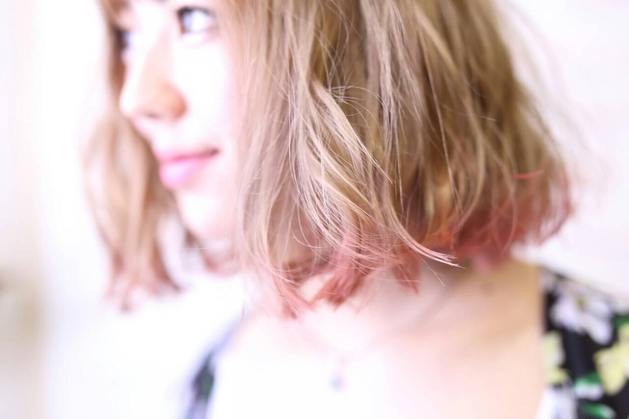 ダブルカラー ボブ ハイライト ガーリーヘアスタイルや髪型の写真・画像